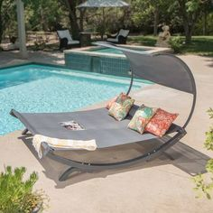 Gray Canopy Patio Double Chaise Lounge Sunbed Outdoor Home Furniture Pool Backyard Canopy, Canopy Outdoor, Canopy Tent, Canopy Bedroom, Hotel Canopy, Window Canopy, Outdoor Daybed, Canopy Curtains, Gardens