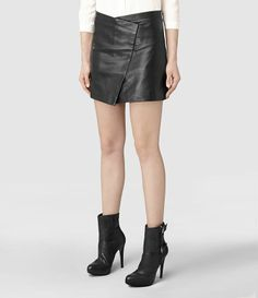 To die for leather skirt and high heel boots combo