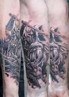 knight tattoo | knight with dragon tattoo by Mirek vel Stotker | Flickr - Photo ...