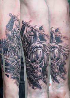 knight tattoo   knight with dragon tattoo by Mirek vel Stotker   Flickr - Photo ...