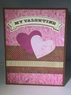 Valentine card, love, hearts, pink, ribbon