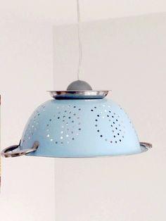 Lampe suspension originale passoire bleue ciel en inox : Luminaires par chez-v-renise