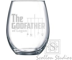 Personalized Godfather Gift, Wine Glass with The Godfather Design, Elegant Will You Be My Godfather Gift, Godfather Wine Glass - Godfather Gifts - Godparent proposals Godparent Gifts, Baptism Gifts, Personalized Gifts, Glass Engraving, Custom Engraving, The Godfather Wallpaper, Wedding Toasting Glasses, Godfather Gifts, Perfect Glass