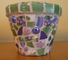 Sweet Violets Pique Assiette Mosaic Flower Pot Broken China Mosaic