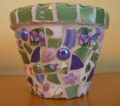 Sweet Violets Pique Assiette Mosaic Flower Pot by PamelasPieces, $30.00