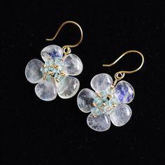 Blossom earrings with Rainbow moonstone by FridaHandmadeJewelry, $49.00