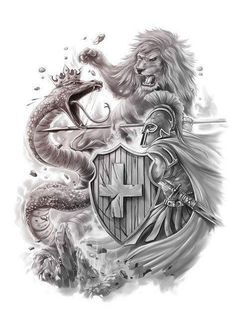 THE SERPENT HAS NO MATCH OF WHAT IS THE LION THAT LIVES INSIDE OF ME Lion Head Tattoos, God Tattoos, Warrior Tattoos, Lion Tattoo, Tattoo Design Drawings, Tattoo Sketches, Andy Engel Tattoo, Smaug Tattoo, Armor Of God Tattoo