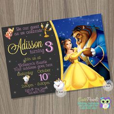 Princess Belle Invitation, Beauty and the beast invitation, Princess Belle Birthday, disney princess invite, Princess birthday invitation by CutePixels on Etsy https://www.etsy.com/listing/504701874/princess-belle-invitation-beauty-and-the