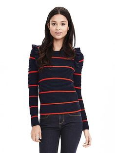 Striped Ruffle Pullover Sweater | Banana Republic