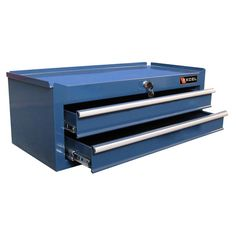 """Made from powder-coated steel, this locking chest provides two drawers of storage for your tools.   Product: Tool chestConstruction Material: Powder-coated steelColor: BlueFeatures:  Two drawersOne lock with two keysScratch and chemical resistant Dimensions: 9.6"""" H x 26.5"""" W x 12"""" D"""