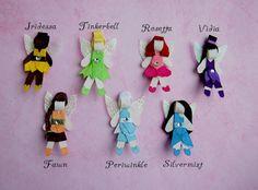 Disney Princess Fairies Hair Bow Clips - Tinkerbell, Periwinkle, Fawn, Iridessa, Rosetta, Silvermist, Vidia.
