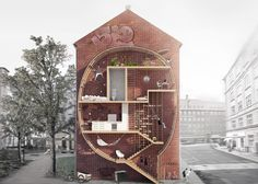 Designers Ole Robin Storjohann and Mateusz Mastalski have won the first prize of roof window manufacturer FAKRO's 'New Vision of the Loft competition with a nifty idea to fill the narrow gaps between buildings with lofts. The Loft, Lofts, Building Section, Building A House, Green Architecture, Architecture Design, Sections Architecture, Building Architecture, Amazing Architecture