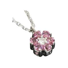 Ponte Vecchio 18k White Gold 0.13ct Diamond & Pink Tourmaline Necklace W/Box,Cert