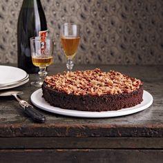 Rich Chocolate Cake with Salty Dulce de Leche & Hazelnut Brittle recipe | Epicurious.com