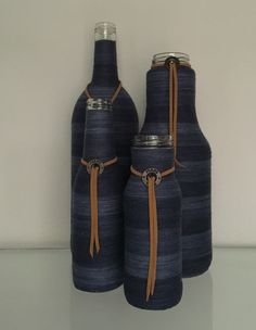 Bottles wrapped with denim look cotton