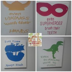 Kids Bathroom Wall Art Silhouette DIY Project Very COOL - and helpful too!