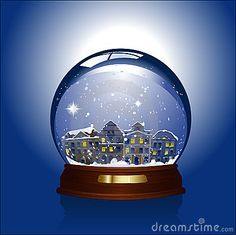 Snow globe with town inside by Parkbenchpics, via Dreamstime