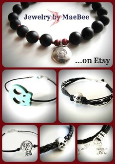 October bracelet love = skulls! ...from JewelryByMaeBee on Etsy.