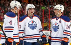 The Oilers top line players, Taylor Hall, Ryan Nugent-Hopkins, Jordan Eberle. Photo: Andre Ringuette/Getty Images