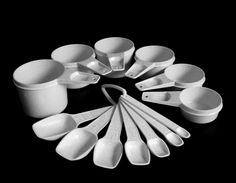New to LaurasLastDitch on Etsy: Tupperware Measuring Spoons Cups Complete Sets Flecked White Yellow (14.99 USD)