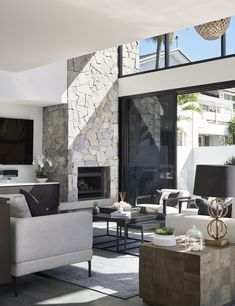 Fireplace Feature Wall, Stone Feature Wall, Fireplace Design, Stone Wall With Fireplace, Feature Walls, Stone Wall Living Room, High Ceiling Living Room, Living Rooms, House Cladding