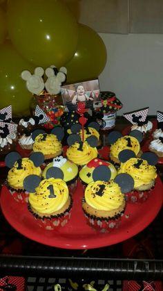 Cupcake Mickey Birthday Cake, Birthday Parties, Mickey Mouse Birthday, Cupcake, Party, Desserts, Food, Anniversary Parties, Birthday Cakes