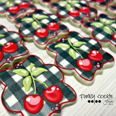 #Cherries on plaid cookies! <3 <3