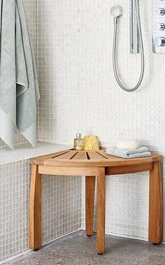 Spa Teak Corner Shower Seat With Basket