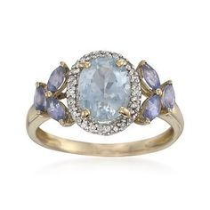 1.60 ct. t.w. Aquamarine and Tanzanite Ring With .10 ct. t.w. Diamonds in 14kt Yellow Gold