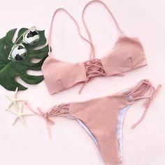 Cupshe Sweet Peach Lace Up Bikini Set
