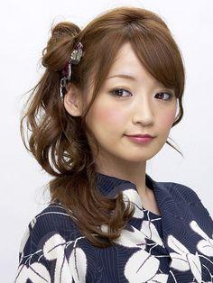 最新のヘアスタイル 浴衣に合う髪型 簡単 ロング : Yukata Long Hair