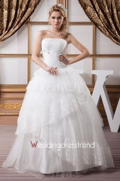 Graceful Strapless Lace Wedding Dress $332.99 Strapless Wedding Dresses