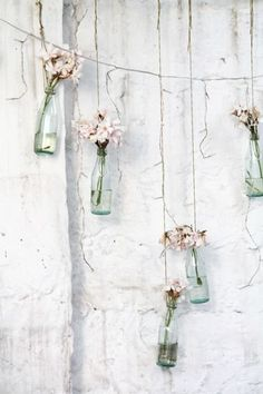 Pretty Flowers In Hanging Bottles ♡ Deco Pastel, Tout Rose, Boho Home, Home And Deco, Flower Power, Beautiful Flowers, Backdrops, Shabby Chic, Glass