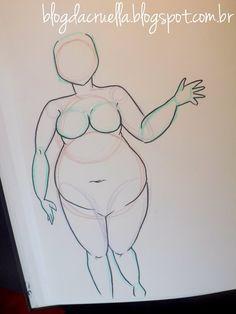 Eu tinha muitas dúvidas sobre fazer gordinhas e hoje em dia vemos muitas ilustrações de mascotes magrinhas, minha eu faço baseada em mi... Drawing Cartoon Faces, Girl Face Drawing, Drawing Base, Drawing Sketches, Art Drawings, Body Drawing Tutorial, Plus Size Art, Poses References, Arte Pop