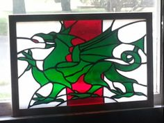 stained glass welsh dragon - Google Search Welsh Dragon, National Animal, Stained Glass Panels, Moose Art, Crafty, Animals, Wales, Dragons, Farmhouse