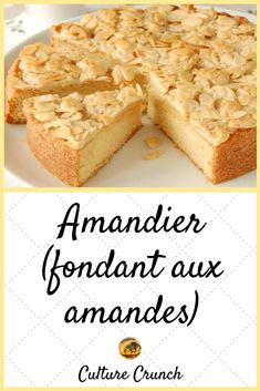 Amandier ou fondant aux amandes : la recette facile - Expolore the best and the special ideas about French recipes French Sweets, French Desserts, No Cook Desserts, French Pastries, Delicious Desserts, Yummy Food, French Recipes, Pastry Recipes, Cake Recipes