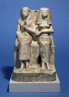 Limestone figure of Khaemwaset and his wife Nebettawy  Excavated/Findspot Armant   19th Dyn  EA 51101