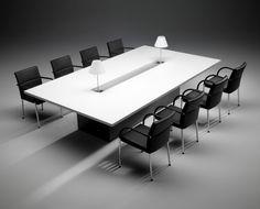M Line - rechthoekige conferentietafel met gesloten HPL onderstel en centrale aluminium-look uitsparing voor data-voorziening of verlichting