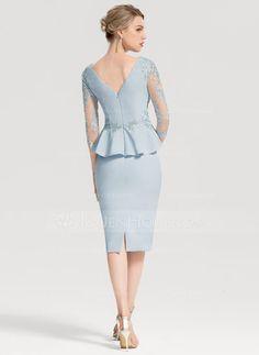 Sheath/Column V-neck Knee-Length Stretch Crepe Cocktail Dress With Appliques Lace Cascading Ruffles (016154245) - JenJenHouse