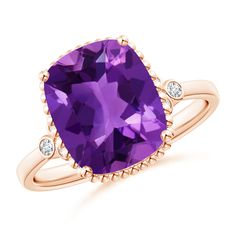 Angara Solitaire Amethyst Vintage Ring in Rose Gold OeYyF5