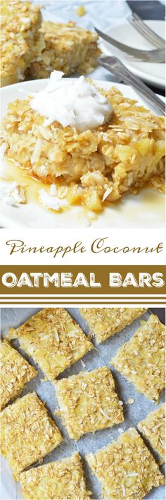 If you want a sweet and satisfying breakfast, these Pineapple Coconut Dairy Free Baked Oatmeal Bars are perfect! This super simple recipe is a great way to liven up your morning oatmeal. Oatmeal, pineapple and coconut are baked and served like cake with a dollop of vanilla yogurt and a generous drizzle of maple syrup. This gluten free, vegetarian, dairy free breakfast will be a hit! #ad #TopItTuesday @lovemysilk