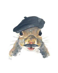 Squirrel Watercolor Illustration by Deidre Wicks (WaterInMyPaint)