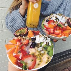 """annietarasova: """"Me and one half of the peary peach (aka @emsmithy) made breakfast and it was GREAT Go big or go home… Bowls of #raw #vegan papaya and blueberry nicecream topped with rainbows..."""