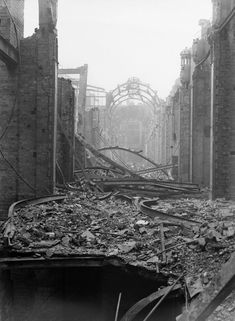 View showing bomb damage caused to the Arcade in central Birmingham after the raid on 6th May 1941.