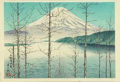 "iamjapanese: "" TOKURIKI Tomikichirō(徳力富吉郎 Japanese, 1902-1999) Mt.Fuji and Lake Motosu, Early Spring 本栖湖 早春 Woodblock Print via """