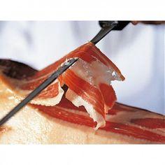 un Couteau à jambon ibérique avec aiguiseur ( étui en bois ), découvrez comment devenir un maître coupeur de jambon ibérique pour découper vos jambons facilement.