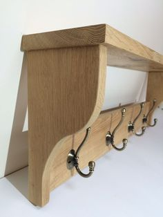 Vintage style rustic oak coat rack with shelf