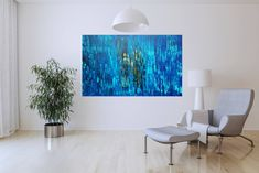Blue Abstract Painting, Abstract Paintings, Palette Knife Painting, Touch Of Gold, Shades Of Blue, Tapestry, Inspiration, Home Decor, Hanging Tapestry