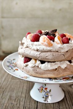 Chocolate Pavlova with Chestnut Creme, Raspberries and Clementines