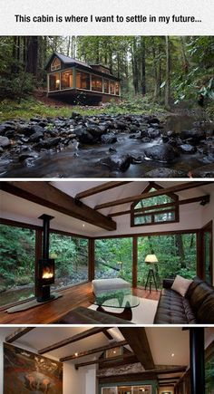 Amazing Tree House Ideas You Need To See Dreamy cabin with a stream running alongside it_ tucked into a forest_ the great outdoors_ nature su Cabin Homes, Log Homes, Tiny Homes, Small Luxury Homes, Tiny House Living, My House, House In The Forest, Forest Home, Tiny House Family